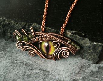 Dragon's Eye - fantasy dragon eye copper wire wrapped pendant