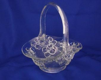 Glass Basket with Dogwood Flowers by Tiara Glass Company
