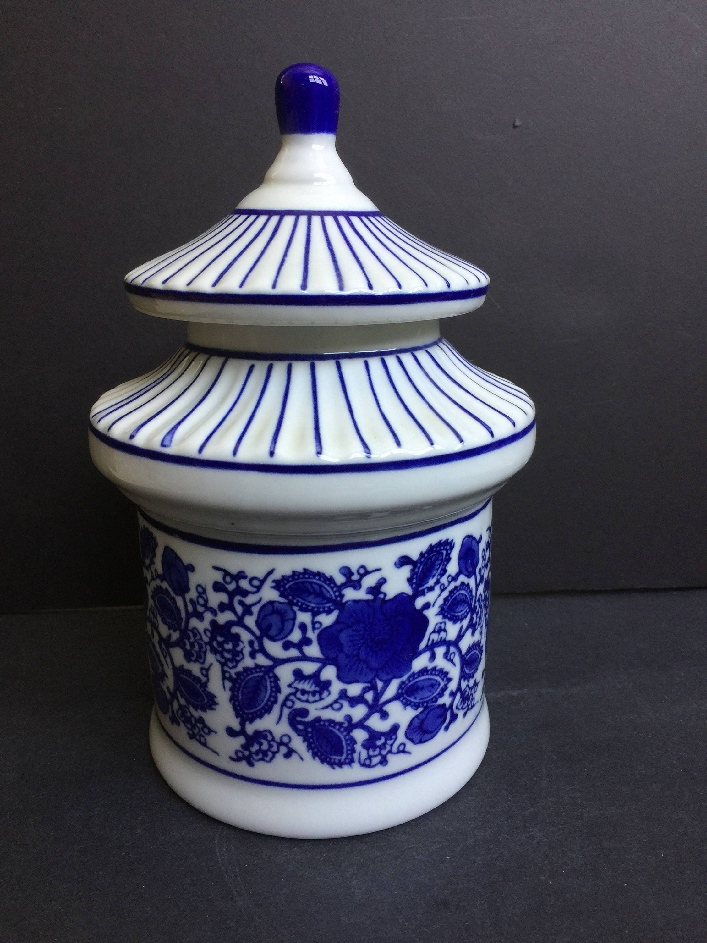 Pagoda Cookie Jar Canister Blue White Heavy Ceramic Vtg