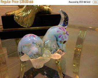 CyberSale FENTON GLASS Dog Puppy Opalescent Milky Glass Hand Painted Daisy Flower Artist Signed Original Sticker