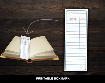 Library Card Printable Bookmarks // Reading Tracker // PDF