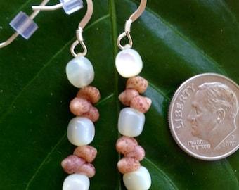 Mother Of Pearl Earrings Hawaiian Kahelelani Shell-Short-Dangle Earrings-Mermaids Tears -Endangered Shells -Rare Kauai Seashell Jewelry