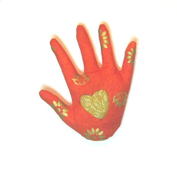 Gold Heart Hamsa Brooch ~ Reverse Applique Hand Pin ~ Ready to Ship