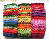 Leg Warmers Striped Multicolored Blue Red Green Yellow Orange Black Gaiters Handknitted