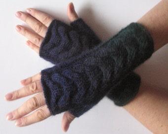 Dark Blue Fingerless Gloves Knit Gloves Winter Gloves Dark Green Fingerless Gloves