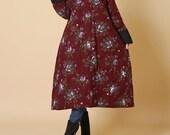 Winter loose padded coat/ Dark red/ dark blue padded robes/ padded Cotton dress