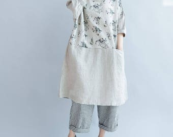 Linen loose large size round collar pullover dress summer dress