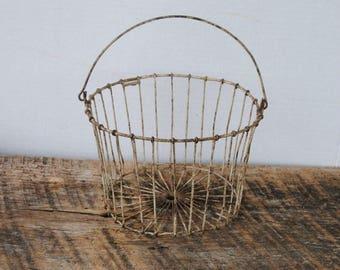 Vintage Egg Gathering Wire Handled Basket