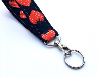 Strawberry Key Chain, Wristlet Key Fob With Snap, Short Lanyard, Red and White