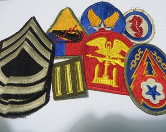 US Army Rank and Patch Lot Super SSG Rank Patches, three Bar overseas, AAF Armored, Hq Eto & Eng Patch