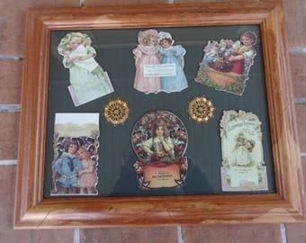 "Vintage Victorian style die cuts advertising paper framed ephemera 17"" x 14"" cottage chic"