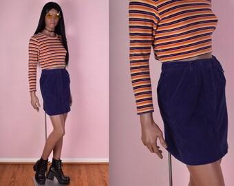 90s Blueish Purple Corduroy Skirt/ 26 Waist/ 1990s