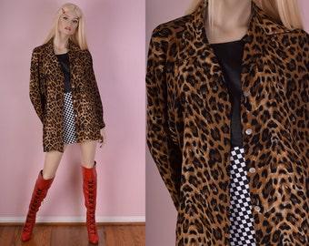 90s Leopard Print Button Down Shirt/ Large/ 1990s/ Long Sleeve