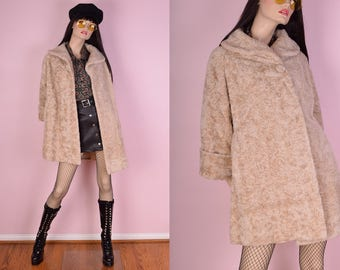 60s Beige Faux Persian Lamb Fur Coat/ Medium/ 1960s/ Vintage/ Jacket