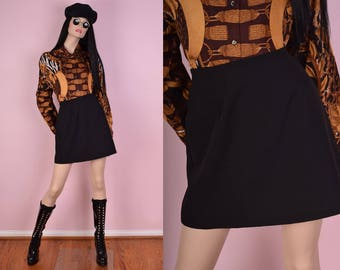 90s Black A-line Skirt/ 28 Waist/ 1990s