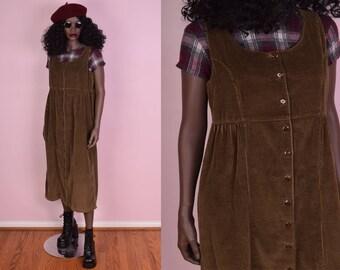 90s Brown Corduroy Button Down Dress/ Medium/ 1990s
