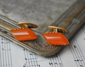 Vintage Soviet Russian Baltic pressed Amber Cuff Links.Gold filed.