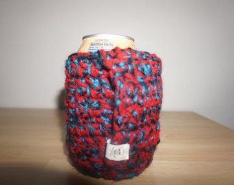 Red, Teal and Black Crocheted Can Cozy