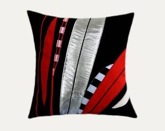"Decorative Pillow Case, Black, Red, Silver fabrics combination Throw pillow case, fits 18""x18"" insert, Toss pillow case"