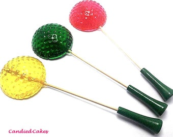 10 GOLF BALL Lollipops - Pick Any Color and Flavor