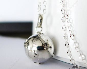 Pregnancy Necklace Tiny Stars 16mm Sterling Silver Harmony Ball (aka Mexican Bola) Pendant LS68