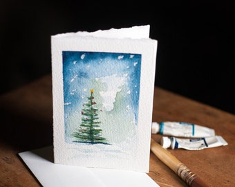 WATERCOLOR CHRISTMAS CARDS, Set of 3, each one hand painted, Christmas tree, watercolour tree