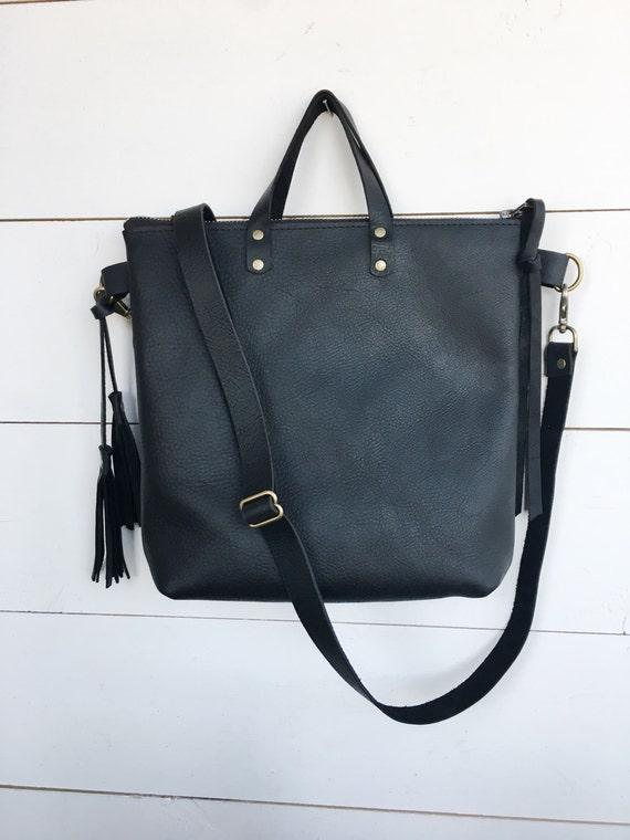 black leather crossbody bag, black leather purse, crossbody purse, leather shoulder bag, everyday bag, purse, womans purse