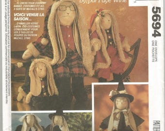 """McCall's 5694, Fay Wine  Country Bunny Rabbit Seasonal Costume Clothes Pattern in 3 sizes to fit 14"""", 20"""", and 25"""" tall Bunnies."""