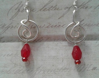 Twisted Silver and Red Czech Glass