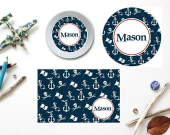 Pirate Crew Plate/Bowl/Placemat . Personalized Plate/Bowl/Placemat . Boys Melamine Plate . Pirate Plate/Bowl/Placemat . Pirate Party