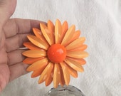 "Daisy brooch Hippie 1960s orange and mellon two toned enameled metal HUGE 3-1/4"" tiered love me loves me not flower power jewelry bargain"