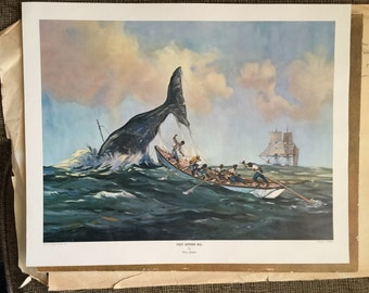 3 Percy Dalton Whaling Prints vintage lithograph whales 1- Fast Astern 2- Lowering the Boats 3- Nantucket Sleighride marine art