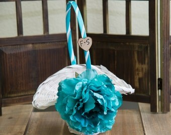 Turquoise Peony Flower White flower girl basket you pick the color of ribbon and flower plus initials