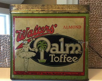 Walters Almond Palm Toffee Tin Rare London