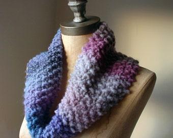 Night Owl Knitted Snood in light midnight mauve & dawn purple, Women's Cowl, Autumn Fashion