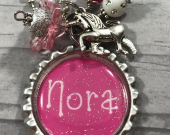 Girls PERSONALIZED Charm Necklace. Monogram. Name Necklace. Kid Jewelry. Horse. Unicorn. Gift for Christmas. Black Friday Sale. Cyber Monday