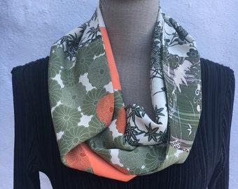Kimono silk long infinity scarf.  Green and apricot FREE SHIPPING