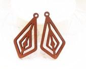 Dyeing Series - 33x 61 mm Filigree Light Brown / Coffee Geometrical Wood Dangle/ Wooden Charm/Pendant /Wood Shape / Wood Earrings NM152