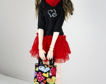 Black & Red outfit: shirt, skirt, shawl/scarf, and tote bag+key pendant, for MSD BJD / Obitsu body 1/3 (47 cm/18,5 in)