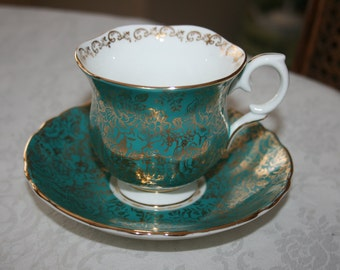 Vintage Staffordshire Cup and Saucer Set Made In England Fine Bone China Crown White Teal Gold Floral Flowers