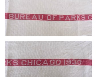 Dish Towel 1930 Chicago Bureau of Parks Kitchen Cloth Vintage