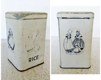 Antique Rice Tin Metal White with Blue Images Women and Child