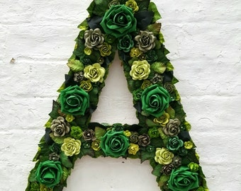 Flower Letter Floral Letter Green Forest Flowers Leaves Personalised Wall Hanging Letter Initial Nursery Decor Baby Gift