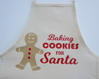 Christmas Kids Apron, Baking Cookies for Santa, white with red and silver glitter vinyl lettering, by Lil Miss Sweet Pea