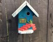 Aqua Blue Birdhouse/Decorative Functional-Unique-Designer-Bird-House/Garden Art/Handmade-Birdhouses For Gardening Birds, Item #473996151