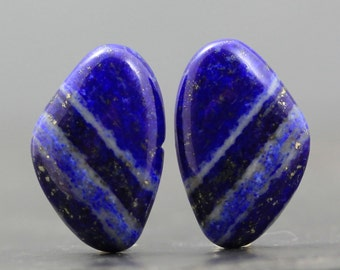 Afghanistan Blue Lapis Lazuli Pair with Rare Bands, Stripes Polished Specimens for Earrings and Jewelry