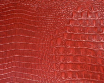 """Leather 20""""x20"""" Red ALLIGATOR / Crocodile Embossed Cowhide Hide 3.25 oz / 1.3 mm PeggySueAlso™ E2860-16"""