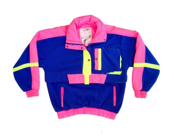 Epic 80s Neon Nylon Accented New Face Fleece Pullover - S