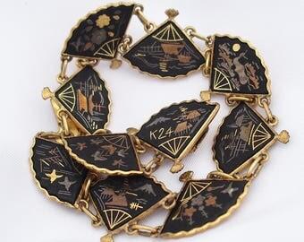 Vintage Japanese Damascene, Komai Link Bracelet, 24k Gold & Silver Scenic Shakudo