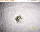 20% OFF SUMMER SALE Vintage Abalone and clear stones ring. Sterling silver.